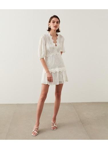 Ipekyol Kadın Koton Mixli Elbise IS1210002237096 Beyaz